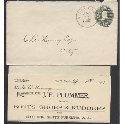 US 1c green pre-stamped envelope South Paris & ephemera