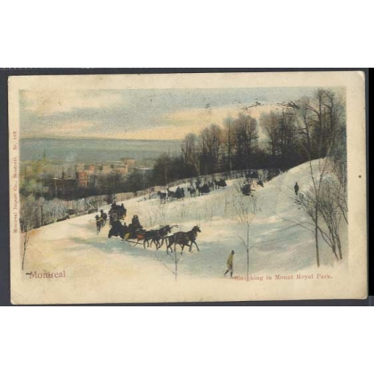 Montreal 1905 card Sleighing in Mount Royal Park colour postcard 1905