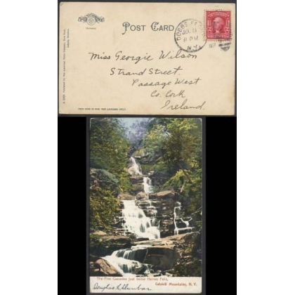 Dobbs Ferry NY duplex canel on postcard to Ireland 1907
