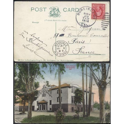 Burlingame Ca USA duplex 1913 on  postcard to France
