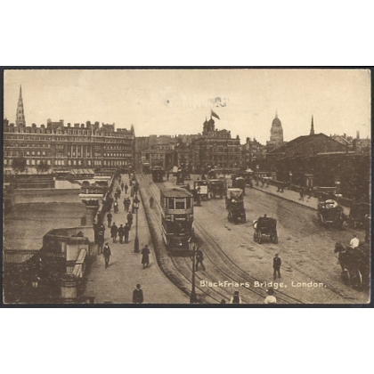 Blackfriars Bridge London postcard, trams etc used 1921