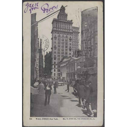 Wall Street, New York USA 1904 undivided back postcard, busy