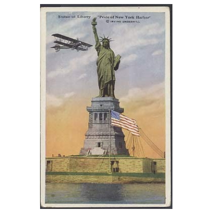 Statue of Liberty postcard with added biplane! 1923