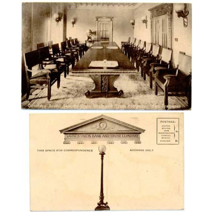 Savings Union Bank & Trust Co Directors Room San Francisco sepia postcard