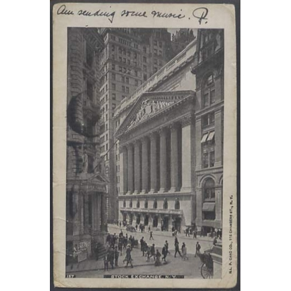 New York Stock Exchange 1904 busy postcard