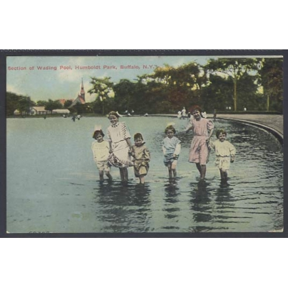 Humboldt Park, Buffalo early colour postcard