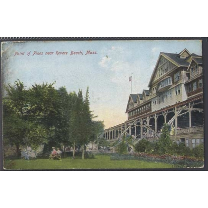 Point of Pines, Revere Beach, Mass USA colour postcard