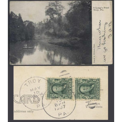 Long's Pond, PA, USA, postmarked 1907 undivided back postcard