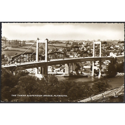 Tamar Suspension Bridge, Plymouth real photographic postcard