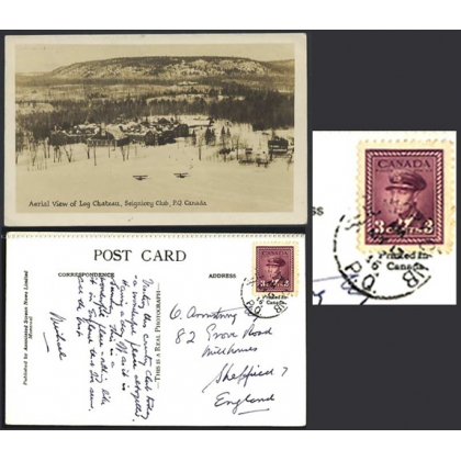 Seigniory Club, P Q, photographic card and CLUB postmark