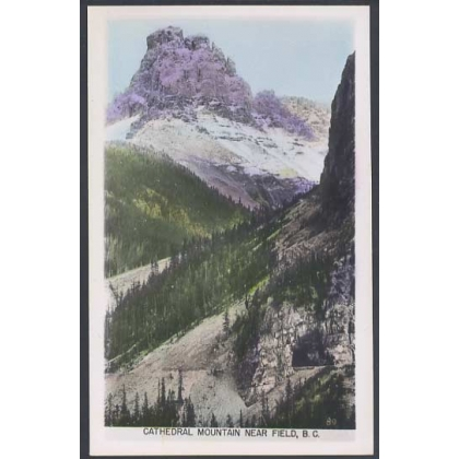 Cathedral Mountain BC coloured photographic postcard