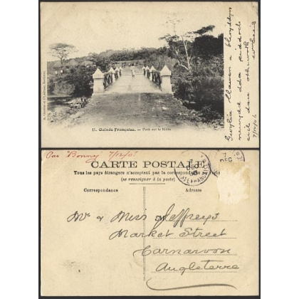 French Guinea: Bridge over the Kitim 1906 postcard