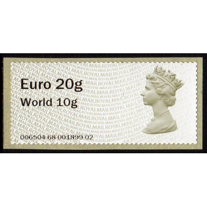 FS01.n3-97 Euro 20 / World 10 Machin Faststamp NEW from NCR machines