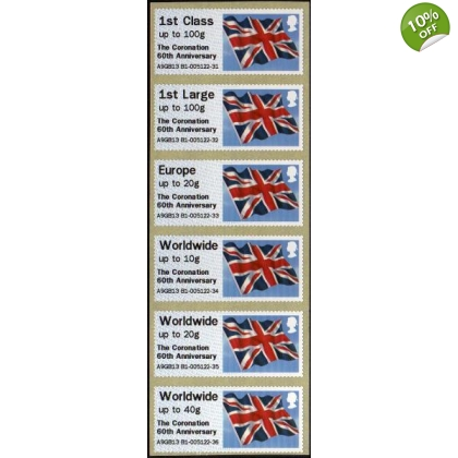 FT09b Coronation 60th Anniversary Flag Faststamps set