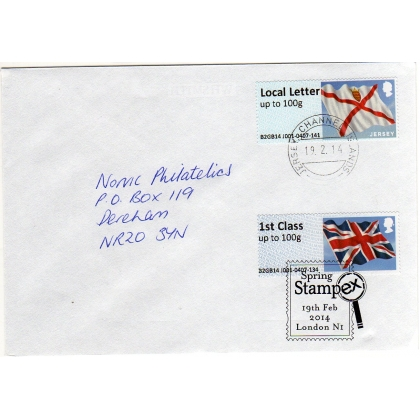 FZJ01-F Jersey/UK Flag Faststamps double FDC