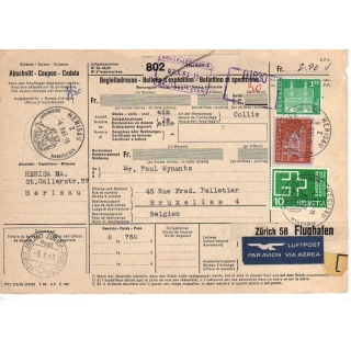 Switzerland Parcel Form 1963