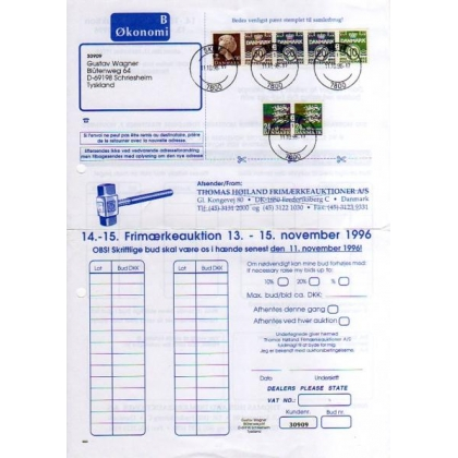 Denmark to Germany 1996 high value postage postal history