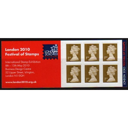 MB 8.0b Booklet 6x 1st gold security London 2010