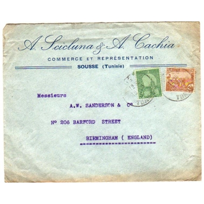 Tunisia - England 1906 cover