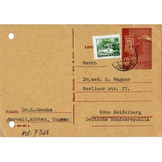 Hungary Postal Stationery Postcard 1968