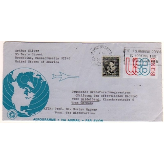 USA uprated aerogramme to Germany 1976