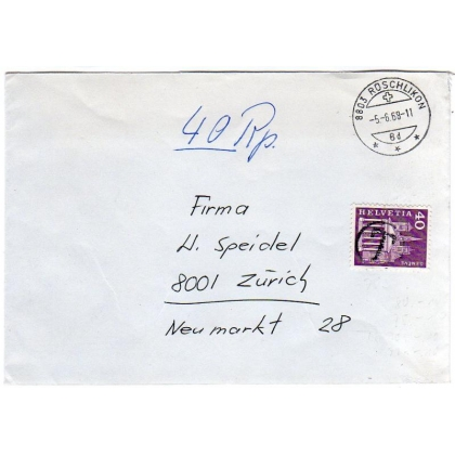 Switzerland internal Postage Due cover 1968