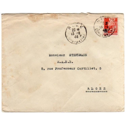 Algeria 1944 provisional on internal cover Constantine - Alger
