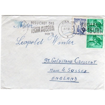 Austria to England cover 1956