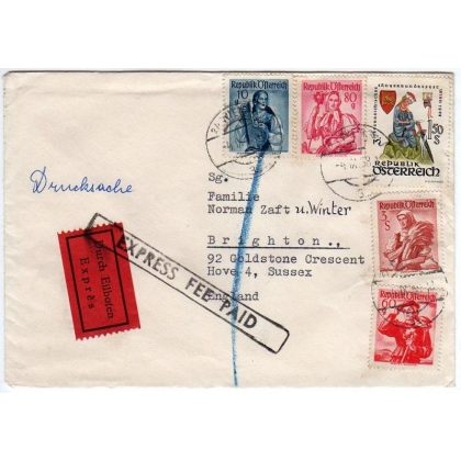 Austria printed paper express letter to England 1958