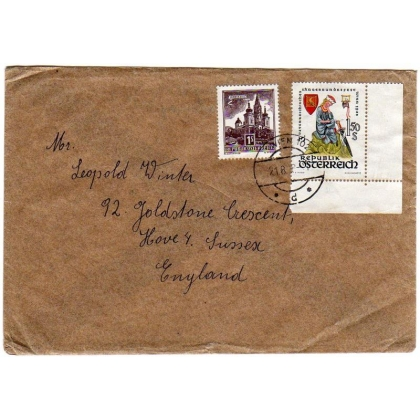 Austria to England cover 1958