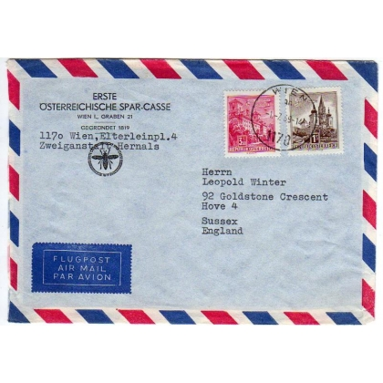 Austria banking airmail cover to England 1969