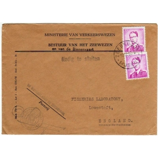 Belgium 1960 official mail to England