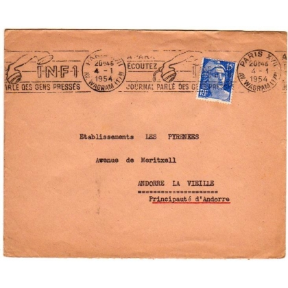 France 1954 cover to Andorra