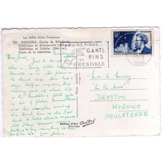 France postcard to England 1956