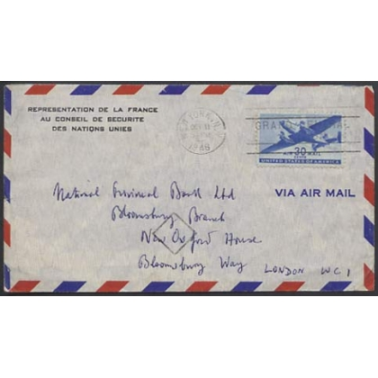 USA 1948 airmail to London, Security Council French representative