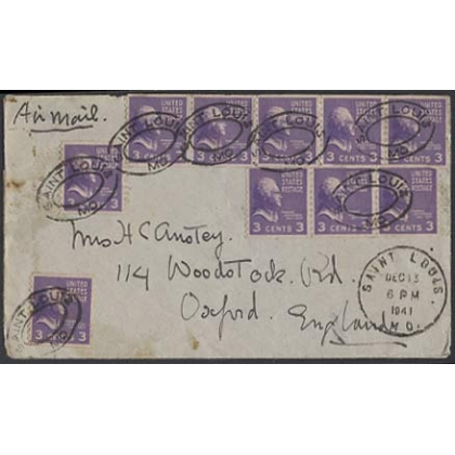 USA 3c prexie coils on 1941 cover St Louis to England