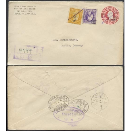 USA uprated 2c stationery envelope 1922 registered to Berlin