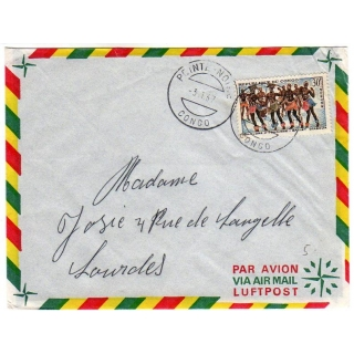Congo airmail cover to France 1967