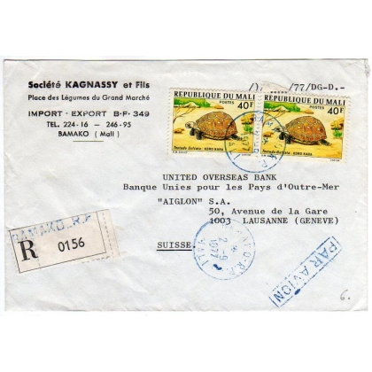 Mali registered airmail cover to Switzerland 1977