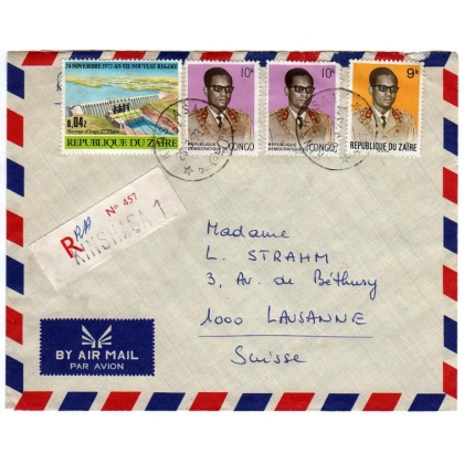 Zaire/Congo mixed franking 1973 to Switzerland