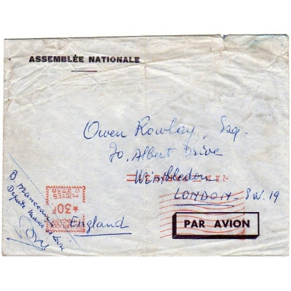 France official cover from Assembleé Nationale 1954