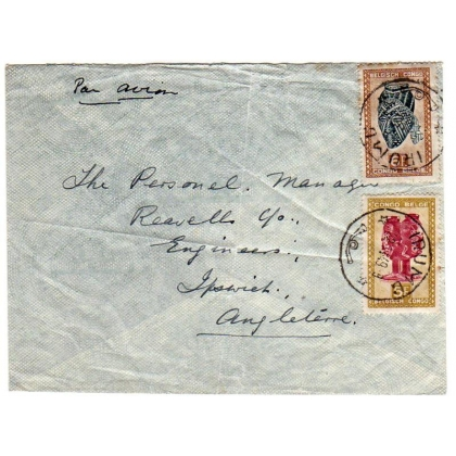 Belgian Congo airmail to England cover 1949.