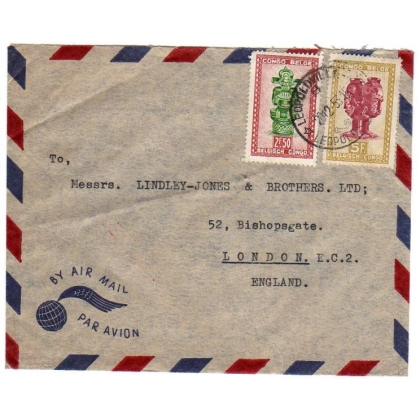 Belgian Congo airmail to England cover 1953