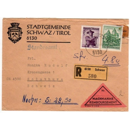 Austria Registered COD letter to Switzerland 1968