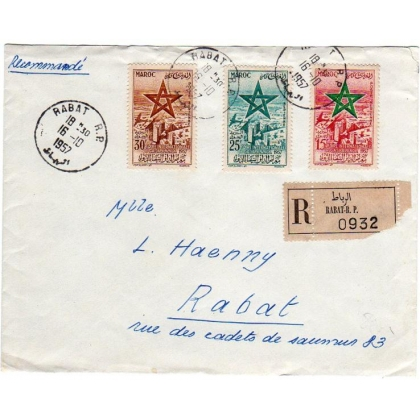 Morocco French area - Southern Zone registered local cover 1957