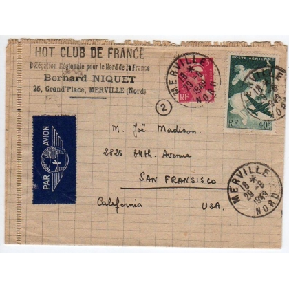 France 1949 Airmail to USA - Jazz connection