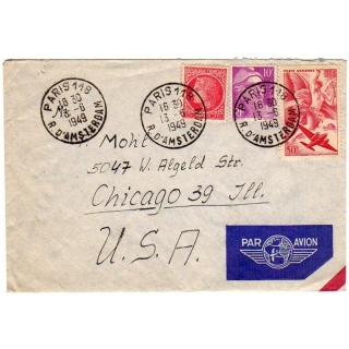 France to USA airmail 1949