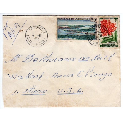 Ivory Coast airmail cover to USA 1964