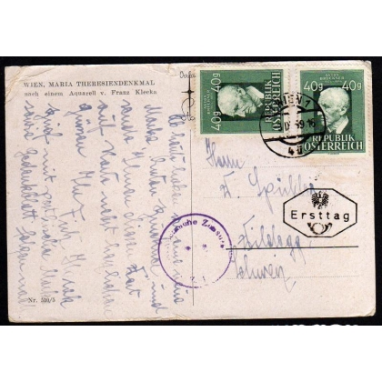 Austria: 1949 Bruckner Ersttag on card to Switzerland