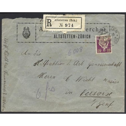 Switzerland internal registered cover 1925